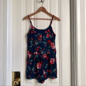 Ambiance Rose Floral Print Navy Romper